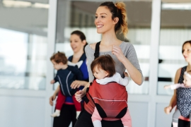 Adult dance class with infants
